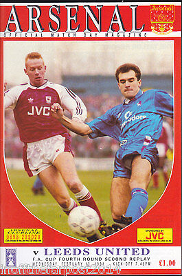 1990/91 ARSENAL V LEEDS UNITED 13-02-1991 FA Cup 4th Round 2nd Replay