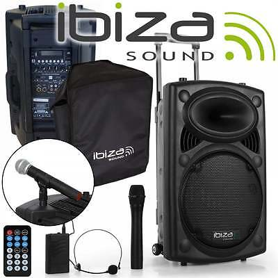 700W Portable PA System Handheld Headset UHF Mics with USB SD & Bluetooth + Case