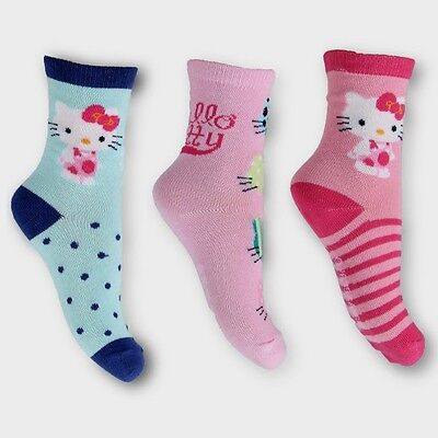 Official Sanrio Hello Kitty Character Ankle Socks | Pack 3 Pink & Blue Cat Socks