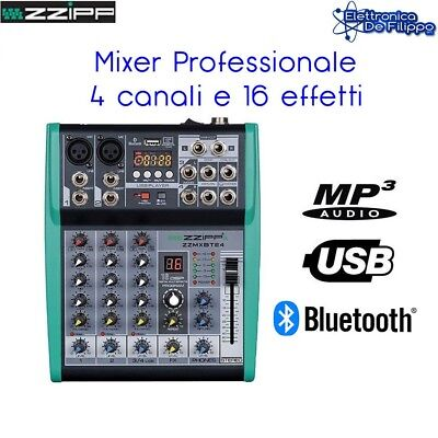 Mixer Audio 4 Canali Professionale Con Bluetooth Usb Mp3 - Dsp 16 Effetti