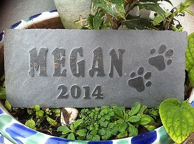 Carved slate Pet memorial garden plaque, marker, dog, cat, rabbit personalized