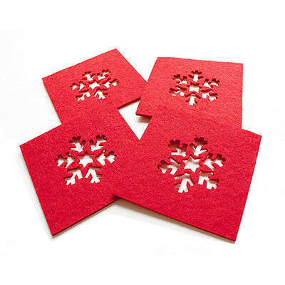 Set Of Christmas Red Felt Snowflake Coasters 4 Pack Table Decorations 10 cm Xmas