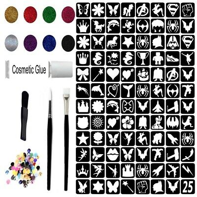 Glitter Tattoo Kit 25 - Princess & Super Hero 88 Large Stencils Glitter glue