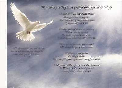 Personalized In Memory of My Love Poem Loss of a Beloved Husband Customize Order