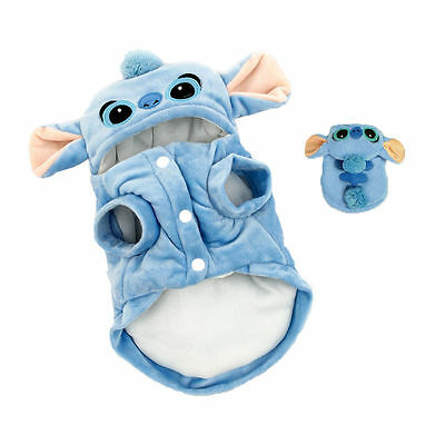 Pet Dog Clothes Stitch Puppy Soft Hoodie Cute Halloween Cat Cotton Coat Costumes
