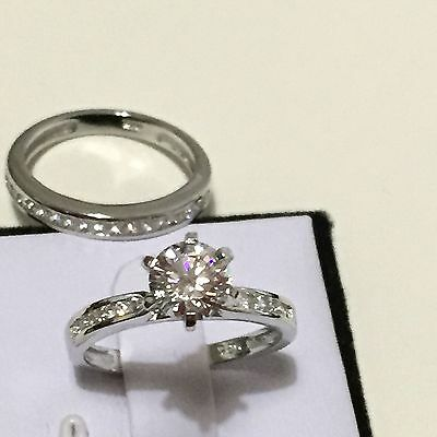 Bridal Set Round cut Created Diamond Rhodium over 925 Silver Engagement Wed Ring