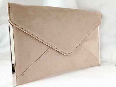 New Beige Nude Faux Suede Evening Day Clutch Bag Envelope  Royal Navy Xmas Party