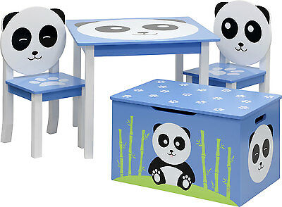 Table and chairs with chestbench - PANDA - Wooden Set Kids Children Play Toybox