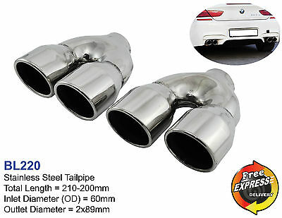 "Exhaust tips quad tailpipe trims dual 89mm 3.5"" BMW M3 M5 M6 style VW Golf 5 6 7"
