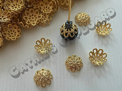 **SALE** 100 x Gold Plated Filigree Flower Bead caps 9mm Rounded Jewellery Craft
