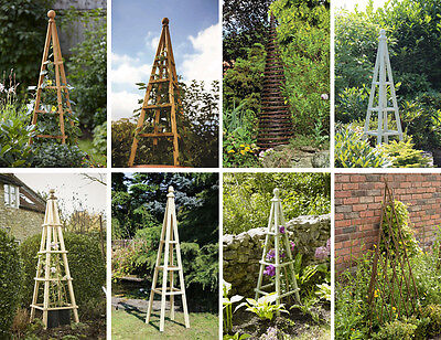 Wooden and Willow Garden Obelisks Plant Support for Climbing Plants