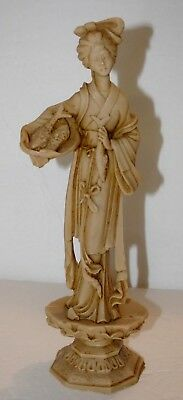 Vintage Chinese Statue of a Woman~Signed in Chinese~Composite Material