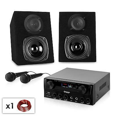 New Compact Pa Hi-Fi Karaoke Amplifier & Speaker Set Dj Mic * Free P&p Uk Offer