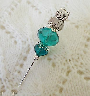 Cat Teal Faceted Crystal Bead HatPin w clutch ~Lapel Hat Brooch Stick Pin