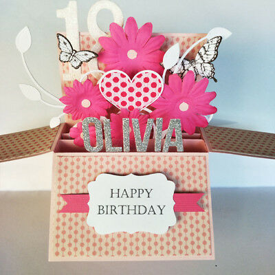 Handmade Name & Age Personalized birthday card, birthday card for girlfriend