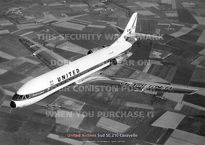 United Airlines Sud Se.210 Caravelle A3 Poster Print Picture Photo Image