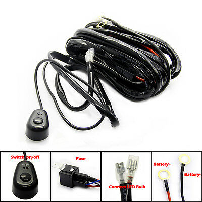 LED Work Driving Light Bar Wiring Loom Harness 12V 300w Relay Switch Control Kit