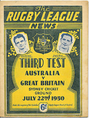 1950 - Australia v Great Britain - 3rd Test Match Programme.