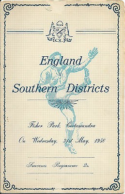 1950 - Southern Districts v Great Britain (England) - Touring Match Programme.