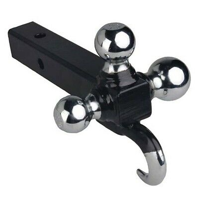 """Triple Tri 3 Ball Trailer Hitch Receiver Mount 1 7/8"""" 2"""" 2 5/16"""" Towing  w/ Hook"""