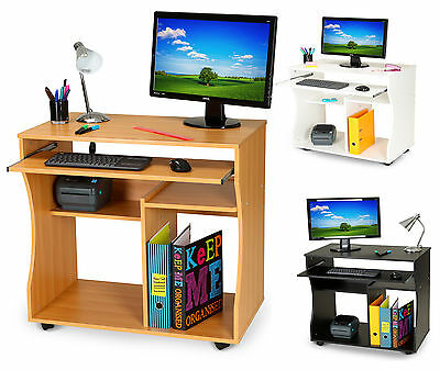PC Desk Mobile Computer Table on Wheels Workstation Office Furniture Space Saver