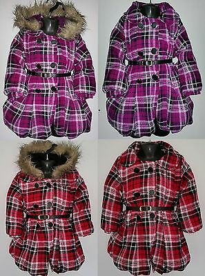 Girls Kids Hooded Coat Checked Jacket Christmas Party Winter Padded Warm Tartan