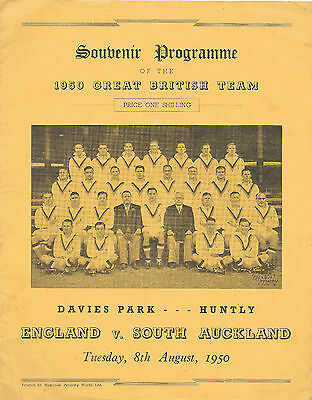 1950 - South Auckland v Great Britain (England) - Touring Match Programme.