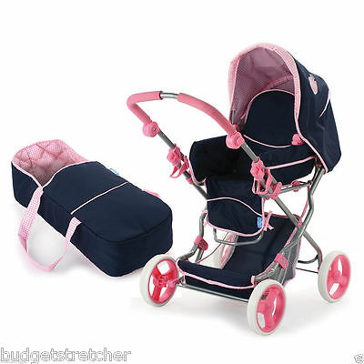 NEW Julia Dolls Stroller Pram & Carrycot + Bag- Navy & Pink - Hauck Classic Toys
