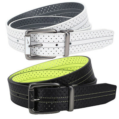 New Nike Mens Perforated Reversible Contrast Golf Belt - Pick Size