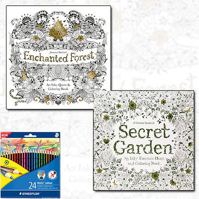 Enchanted Forest, Secret Garden Collection 2 Book Set With Colouring Pencils NEW