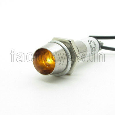 5PCS Yellow Neon 8mm AC220V Panel Indicator Power Signal Light Metal Shell XD8-1
