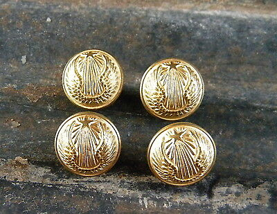 4 Small Antique Gold Round Brass Bronze Button Buttons French Military  Army