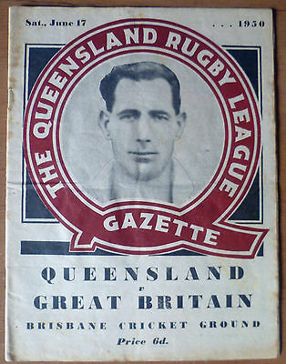 1950 - Queensland v Great Britain - Touring Match Programme.