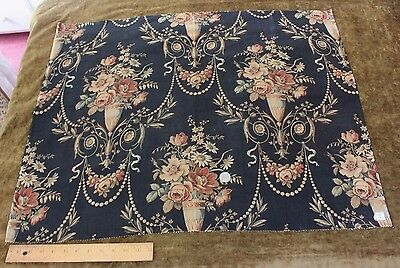 """Antique French Old Floral & Vases Toile W/Fine Detail In Fabric c1860~25""""LX31""""W"""