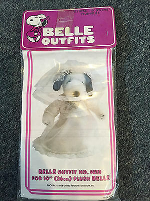 """Vintage Peanuts Snoopy Belle 10"""" Plush Wedding Dress Outfit Nos Sealed"""