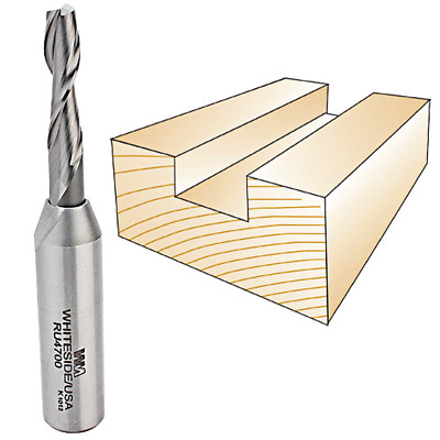 Whiteside #RU4700 Solid Carbide Two Flute Up Cut Standard Spiral Router Bit