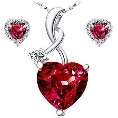 Sterling Silver Heart Cut AAA Created Red Ruby Pendant Necklace & Earring Set