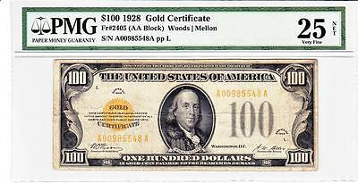 1928 $100 Fr-2405 Gold Certificate PMG VERY FINE 25 NET- GREAT EYE APPEAL !