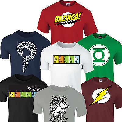 BAZINGA BIG BANG THEORY SHELDON T SHIRT Flash Riddler Green Lantern Soft kitty