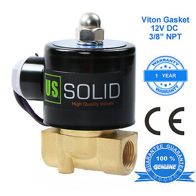 "U. S. Solid 3/8"" 12V Brass Electric Solenoid Valve DC Air, Water Normally Closed"