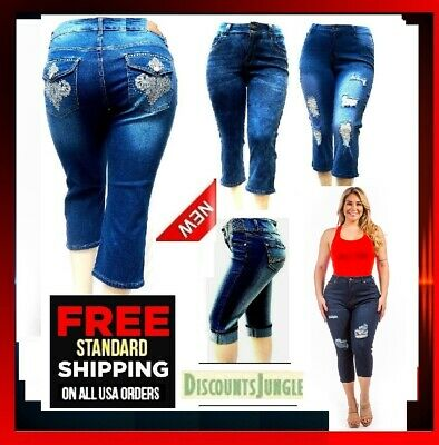 ac644e1aba3 WOMEN S PLUS SIZE Stretch premium BLUE denim jeans CAPRI PANTS JD-39522