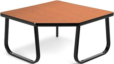 Corner Table with Black Sled Base in Gray Laminate Finish - Office Table