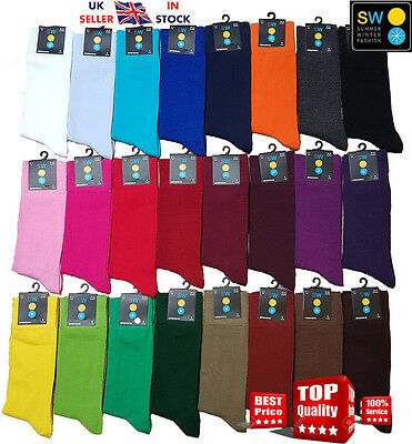 2017 Mens & Women Plain Colour  Comfortable Soft Cotton Ankle Socks UK 6-11