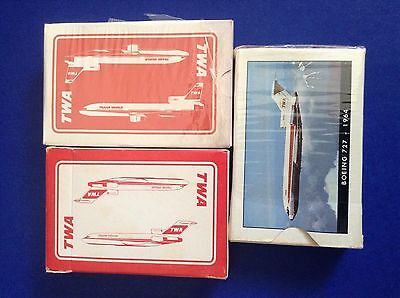 Lot of 3 Vintage TWA Trans World Airlines Playing Card Decks Boeing 727