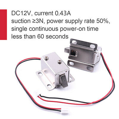 12V DC Cabinet Door Drawer Electric Lock Assembly Solenoid Lock 350MA/ 0.83MA