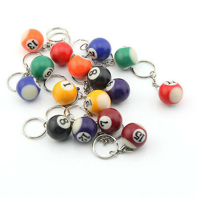 16 PCS  Assorted Colorful Billiards Pool Small Ball Keychain