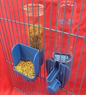 Bird Feeder Seed & Water Clipper Fountains External Budgie Canary Finch  BLUE