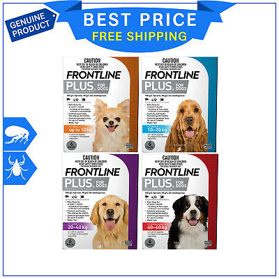 Frontline Plus Flea and Tick Treatment All sizes for Dogs 6 Pipettes + 1 FREE