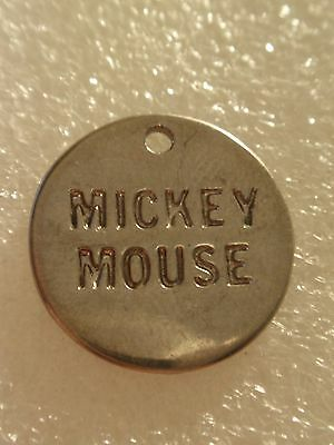 Vintage Disney Mickey Mouse Round Metal Pendant Or Charm!