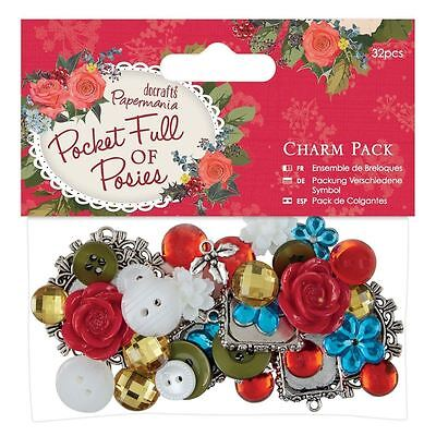 Pocket Full of Posies (Docrafts) - Charm Paper Craft Pack (32 pieces)